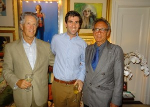 Dominick, Philip Drake, Aronson at Jackie Weld's apt in NYC before memorial service for Rod Drake, July 2014.